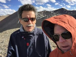 Carolina Mathematics faculty Roberto Camassa and Rich McLaughlin at 17,600 feet above sea level in Tibet